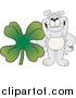 Illustration of a Happy Bulldog Mascot with a Four Leaf Clover by Toons4Biz