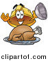 Illustration of a Hard Hat Mascot Presenting a Thanksgiving Turkey on a Platter by Toons4Biz