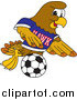 Illustration of a Hawk Mascot Playing Soccer by Toons4Biz