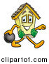 Illustration of a House Mascot Smiling and Bowling by Toons4Biz