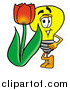 Illustration of a Light Bulb Mascot with a Red Spring Tulip by Toons4Biz