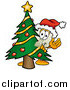 Illustration of a Light Switch Mascot Waving Around a Christmas Tree by Toons4Biz