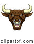 Illustration of a Mad Brown Bull Mascot by AtStockIllustration