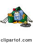 Illustration of a Mailbox Mascot Camping with a Tent and Fire by Toons4Biz