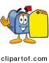Illustration of a Mailbox Mascot Holding a Yellow Sales Price Tag by Toons4Biz