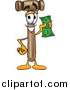 Illustration of a Mallet Mascot Holding a Dollar Bill by Toons4Biz