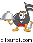 Illustration of a Music Note Mascot Waiter Holding a Serving Platter by Toons4Biz