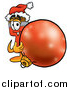 Illustration of a Paint Brush Mascot Standing with a Christmas Bauble by Toons4Biz