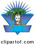 Illustration of a Palm Tree Mascot over a Blank Blue Business Label with a Burst by Toons4Biz