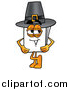 Illustration of a Paper Mascot Wearing a Pilgrim Hat by Toons4Biz