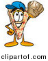 Illustration of a Pizza Mascot Catching a Baseball by Toons4Biz