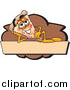 Illustration of a Pizza Mascot Resting on a Blank Tan and Brown Label by Toons4Biz