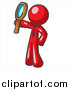 Illustration of a Red Man Holding up a Magnifying Glass by Leo Blanchette