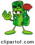 Illustration of a Rolled Money Mascot Holding a Red Rose by Toons4Biz