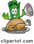 Illustration of a Rolled Money Mascot Serving a Thanksgiving Turkey on a Platter by Toons4Biz