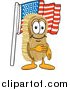Illustration of a Scrub Brush Mascot Pledging Allegiance to the American Flag by Toons4Biz