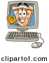 Illustration of a Slice of Pizza Mascot Waving from Inside a Computer Screen by Toons4Biz
