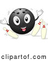 Illustration of a Smiling Bowling Ball Mascot Knocking over Pins by BNP Design Studio