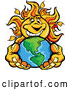 Illustration of a Smiling Sun Mascot Holding out Earth by Chromaco