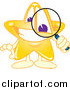 Illustration of a Star Mascot Using a Magnifying Glass by Toons4Biz