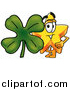 Illustration of a Star Mascot with a Green Four Leaf Clover by Toons4Biz