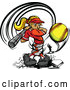 Illustration of a Strong Female Baseball Player Mascot Swinging and Hitting a Softball by Chromaco