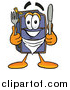 Illustration of a Suitcase Mascot Holding a Knife and Fork by Toons4Biz