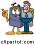 Illustration of a Suitcase Mascot Talking to a Business Man by Toons4Biz
