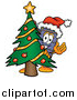 Illustration of a Suitcase Mascot Waving Around a Christmas Tree by Toons4Biz