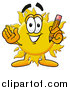 Illustration of a Sun Mascot Holding a Pencil by Toons4Biz