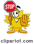 Illustration of a Sun Mascot Holding a Stop Sign by Toons4Biz