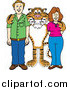 Illustration of a Tiger School Mascot with Teachers or Parents by Toons4Biz