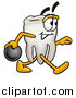 Illustration of a Tooth Mascot Bowling by Toons4Biz