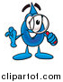 Illustration of a Water Drop Mascot Inspecting with a Magnifying Glass by Toons4Biz