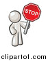 Illustration of a White Man Holding a Stop Sign by Leo Blanchette