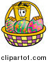 Illustration of a Yellow Admission Ticket Mascot with an Easter Basket by Toons4Biz
