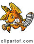 Illustration of an Aggressive Goldfish Mascot Biting a Hockey Stick by Chromaco