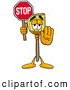 Stock Cartoon of a Broom Mascot Holding a Stop Sign by Toons4Biz