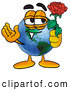 Stock Cartoon of an Earth Mascot Holding a Red Rose by Toons4Biz