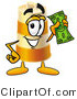 Stock Mascot Cartoon of a Barrel Mascot Cartoon Character Holding a Green Dollar Bill by Toons4Biz