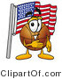 Stock Mascot Cartoon of a Basketball Mascot Pledging Allegiance to an American Flag by Toons4Biz