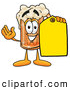Stock Mascot Cartoon of a Cheerful Beer Mug Mascot Cartoon Character Holding a Yellow Sales Price Tag by Toons4Biz
