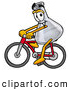 Stock Mascot Cartoon of a Cheerful Erlenmeyer Conical Laboratory Flask Beaker Mascot Cartoon Character Riding a Bicycle by Toons4Biz