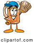 Stock Mascot Cartoon of a Cute Beer Mug Mascot Cartoon Character Catching a Baseball with a Glove by Toons4Biz