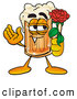 Stock Mascot Cartoon of a Cute Beer Mug Mascot Cartoon Character Holding a Red Rose on Valentines Day by Toons4Biz