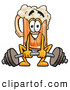 Stock Mascot Cartoon of a Cute Beer Mug Mascot Cartoon Character Lifting a Heavy Barbell by Toons4Biz