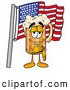 Stock Mascot Cartoon of a Cute Beer Mug Mascot Cartoon Character Pledging Allegiance to an American Flag by Toons4Biz