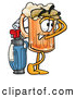 Stock Mascot Cartoon of a Cute Beer Mug Mascot Cartoon Character Swinging His Golf Club While Golfing by Toons4Biz