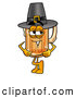 Stock Mascot Cartoon of a Cute Beer Mug Mascot Cartoon Character Wearing a Pilgrim Hat on Thanksgiving by Toons4Biz