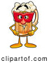 Stock Mascot Cartoon of a Cute Beer Mug Mascot Cartoon Character Wearing a Red Mask over His Face by Toons4Biz